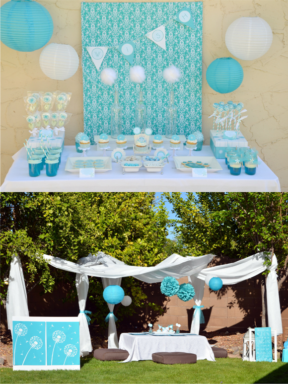 A Blue & White Dandelion Inspired Make a Wish Birthday Party - BirdsParty.com