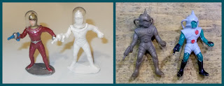 Astronaut; Britains Space; Danish Spacemen; Danish Toy Figures; Made In Denmark; Plastic Helmets; Plastic Toy Figures; Poplar Plastics; Poplar Playthings; Poplar Space Figures; Reisler; Reisler Spacemen; Small Scale World; smallscaleworld.blogspot.com; Space Toys; Space Warriors; Space Woman; Spaceman; Thomas Space Aliens; Thomas Toys; 3 Reisler Spacemen Compared With Poplar Thomas Space Aliens Britains Astronauts 1