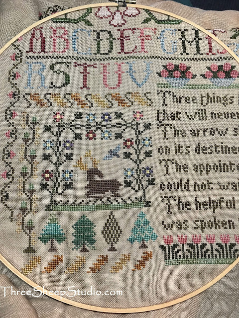 'Three Things Sampler' design by Moira Blackburn - stitched by Rose Clay at ThreeSheepStudio.com