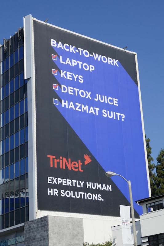 TriNet Back-to-work checklist hazmat suit billboard