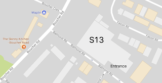 Map showing how to find entrance of S13 venue on Boucher Road - Google Maps
