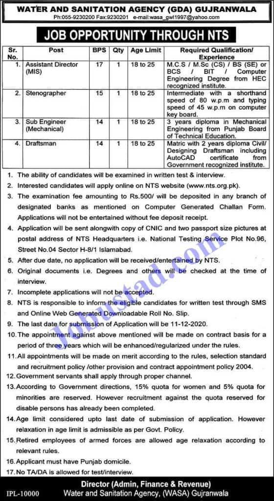 Jobs In Water And Sanitation Agency (WASA) Gujranwala Nov 2020