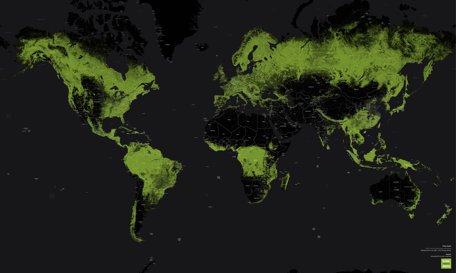 Global tree cover with >30% canopy density