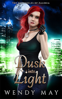 Urban Fantasy Novelette, Wendy May, A redhead stands against a bright city background