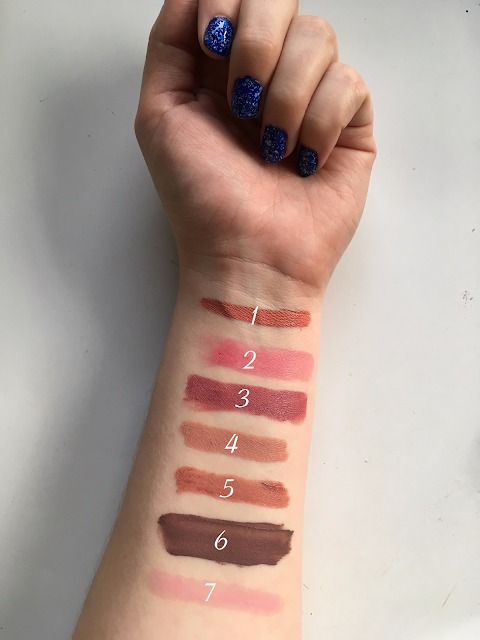 lipstick swatches of the following - nyx liquid suede initator bareminerals crimson pop colourpop lumiere nudestix whisper mystic nyx brooklyn thorn julep covet lip oil