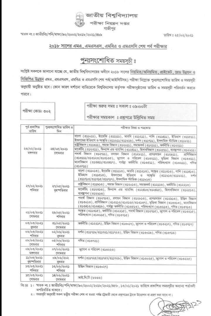 national university exam routine