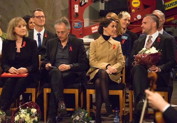 Princess Marie of Denmark attended the Danish AIDS Foundation's Annual Christmas concert at Trinity Church. Princess Marie wore Miu Miu coat