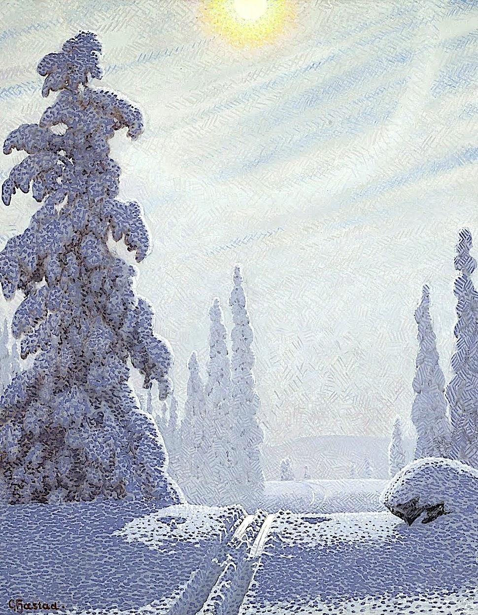 Gustaf Adolf Christensen Fjæstad art, a winter scene