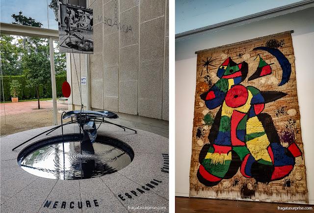 Fonte de Alexander Calder e tapeçaria de Miró na Fundação Joan Miró, Barcelona