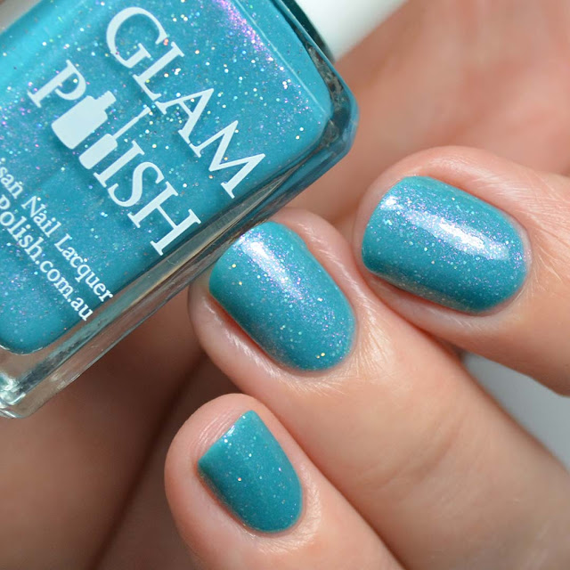 teal crelly shimmer nail polish