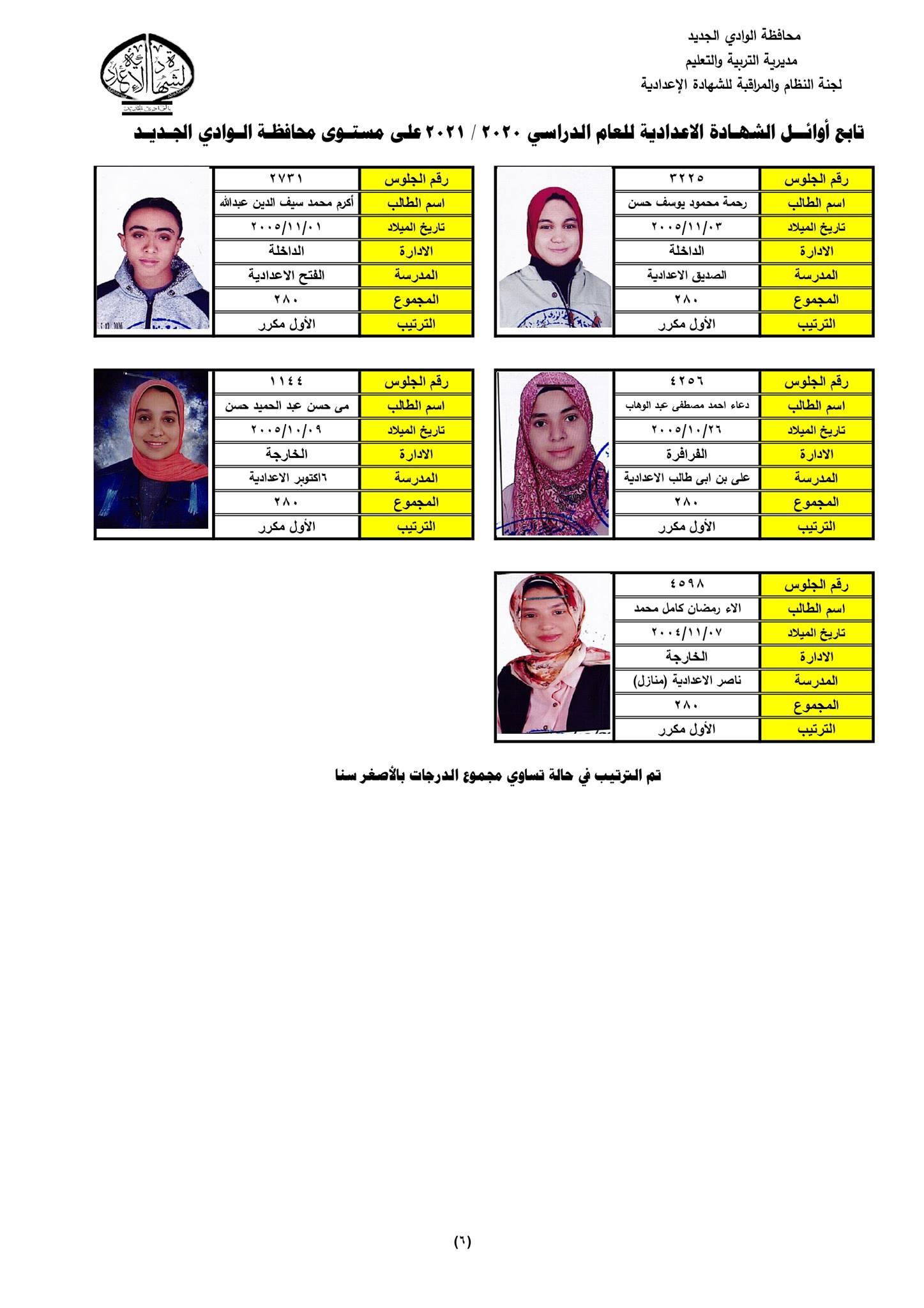نتيجة الشهادة الإعدادية 2021 محافظة الوادي الجديد  10