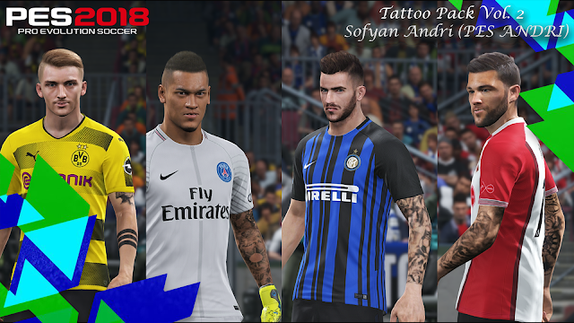 PES 2018 Tattoo Pack V2 dari Sofyan Andri