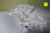 Perle: Hochzeit Ringkissen mit Satin Bogen 21cm* 21cm