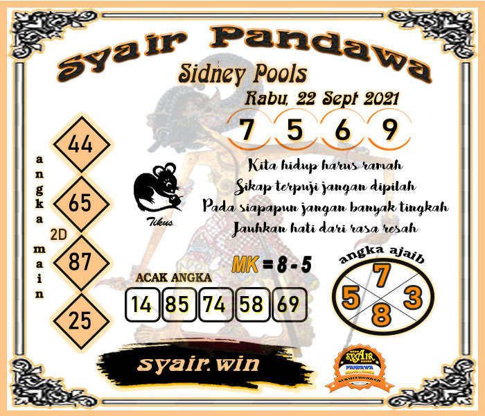 Syair Pandawa Sydney Rabu 22 September 2021