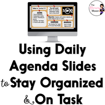 Using a daily agenda slide created using Google Slides helps me to stay organized and on task in class. Posting these Slides in Google Classroom and on my Google Sites class website has helped students and parents stay informed as well.