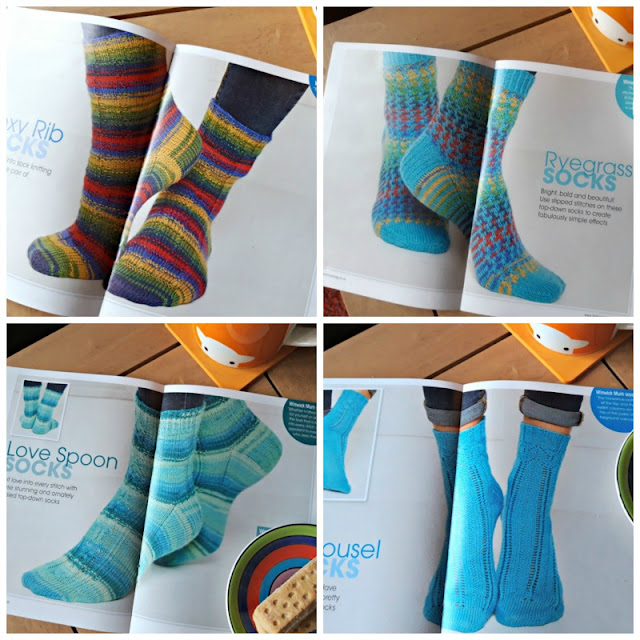 A photo collage showing four pairs of socks: the first is knitted in Winwick Mum Brightside yarn (red, yellow, blue, green and navy), the second is knitted in Brightside yarn and bubblegum blue, the third pair is knitted in Seascape yarn (shades of turquoise) and the fourth pair is knitted in bubblegum blue