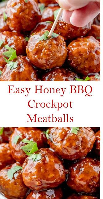 Easy Honey BBQ Crockpot Meatballs #Easy #Honey #BBQ #Crockpot #Meatballs