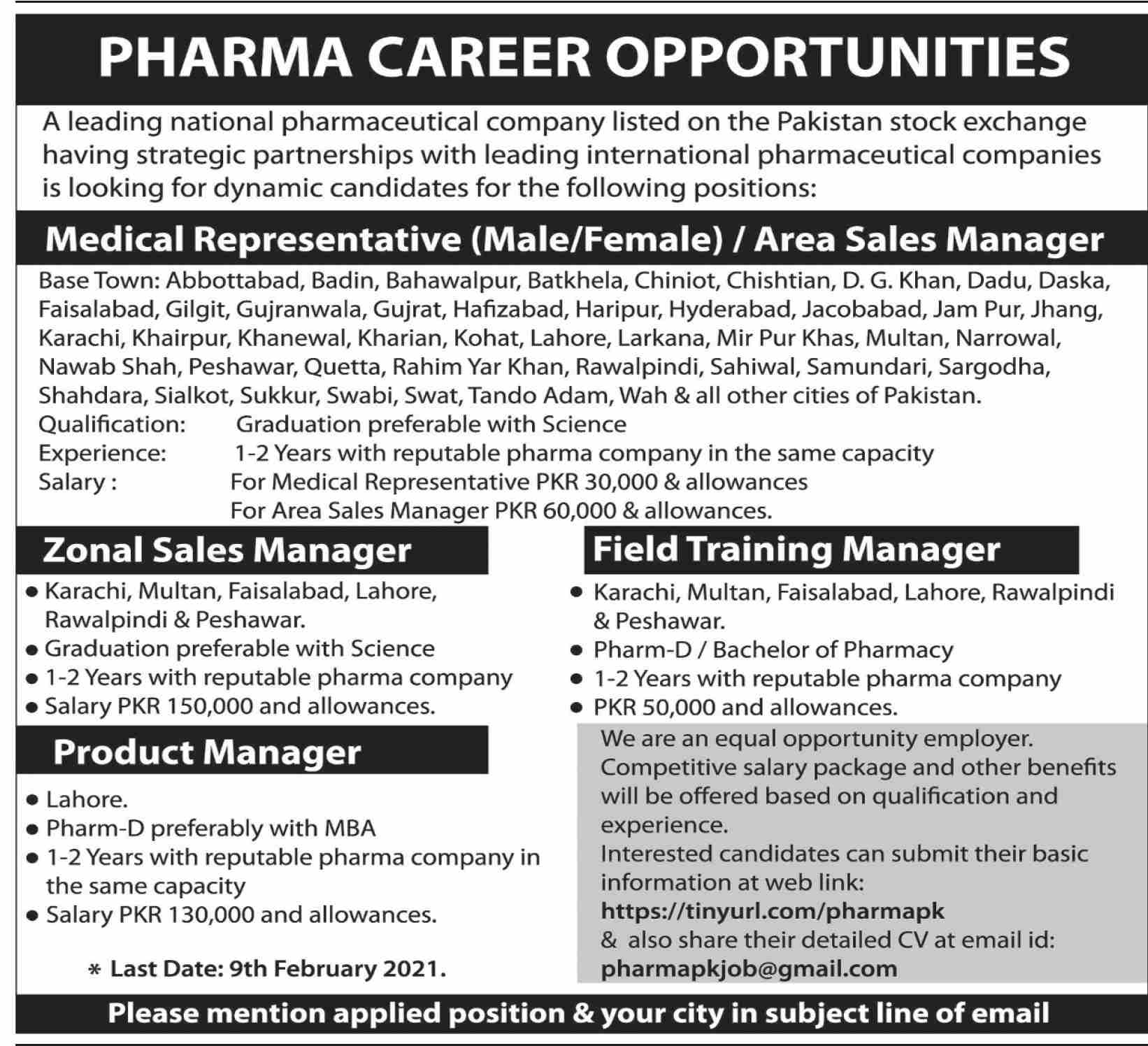 Leading National Pharmaceutical Company Jobs 2021 - Latest Jobs For Male and Female All Pakistan - Online Apply - tinyurl.com/pharmapk - Send Your CV's At - pharmapkjob@gmail.com