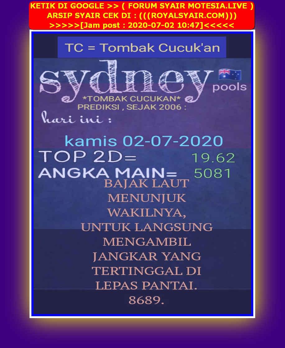 Kode syair Sydney Kamis 2 Juli 2020 20