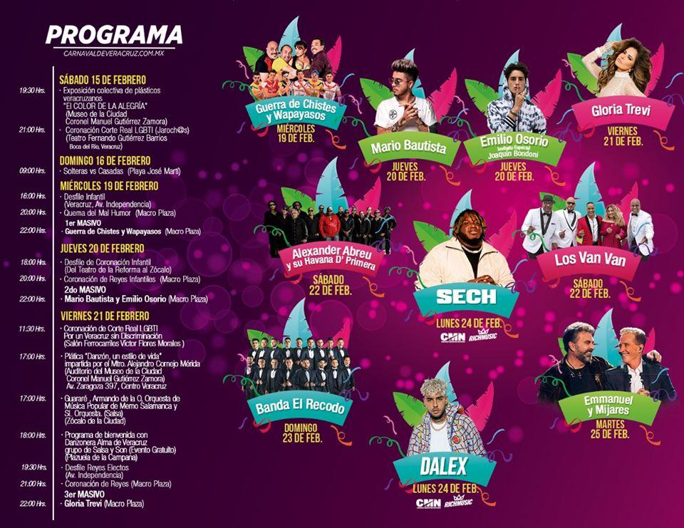 Programa Carnaval Veracruz 2020 primera semana