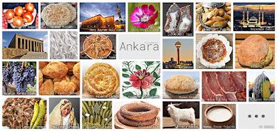 Ankara'nın meşhur şeylerini gösteren resimlerden oluşan kolaj