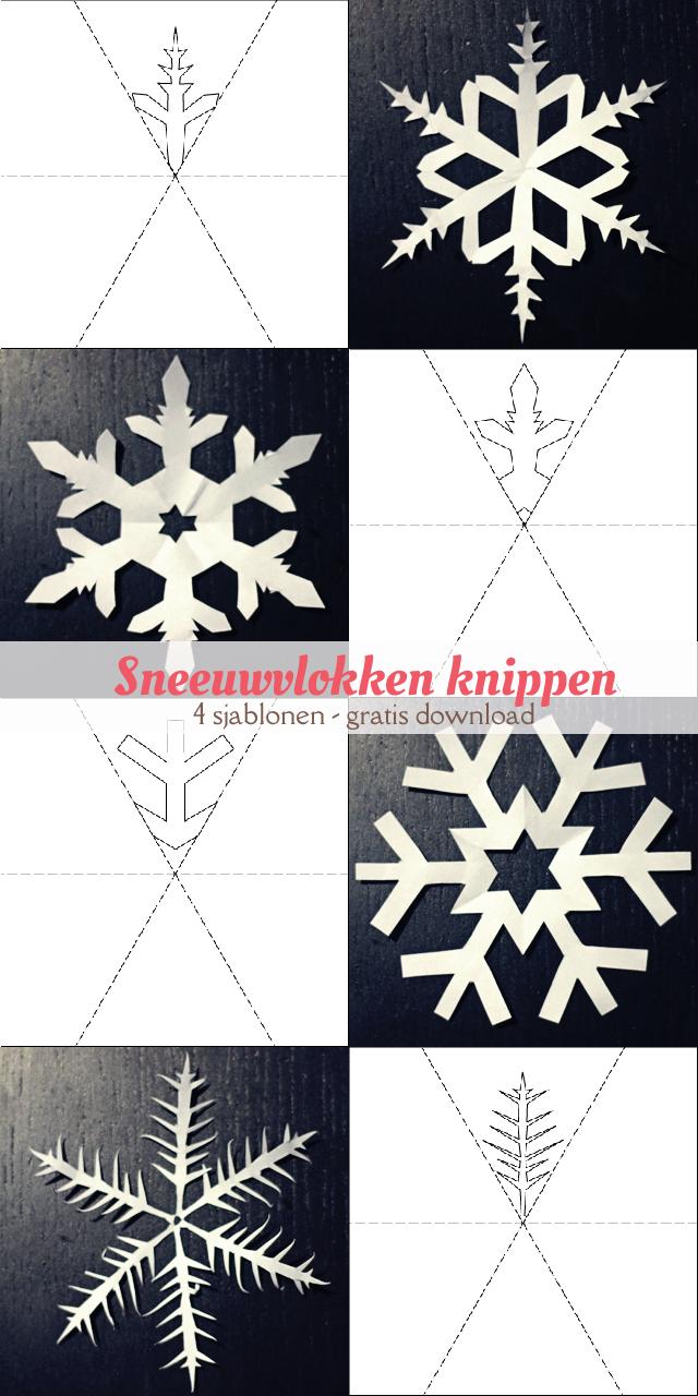 Vier gratis, printbare sjablonen van sneeuwvlokken om uit te knippen.