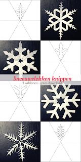 Sneeuwvlokken knippen - 4 sjablonen