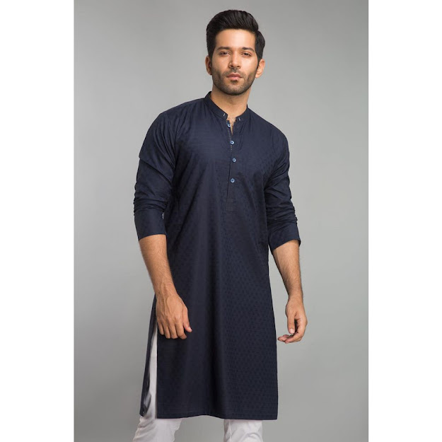 Gul Ahmed navy bsic Men's fashion kurta