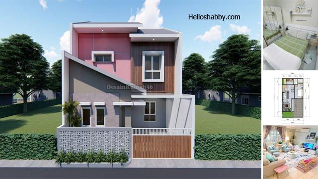 Desain Rumah Minimalis Ukuran 8 X 10 M Desain 2 Lantai Dengan 3 Kamar Tidur Fasad Warna Pink Yang Cerah Dan Terang Helloshabby Com Interior And Exterior Solutions