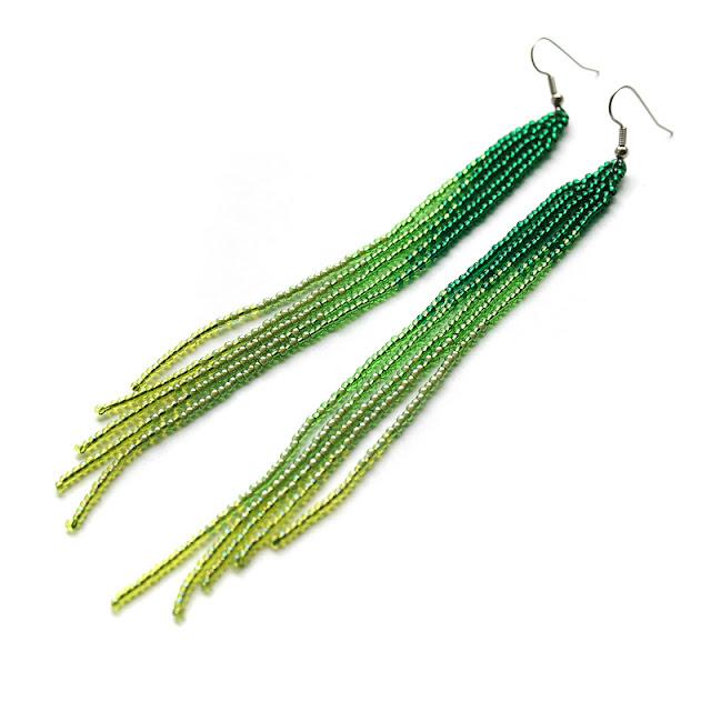 длинные зеленые современные необычные серьги купить украшения из бисера