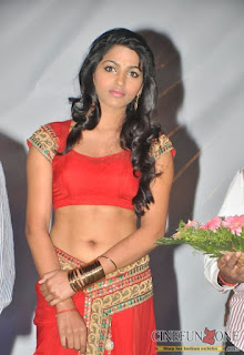 dhansika hot navel show in red dress at public event