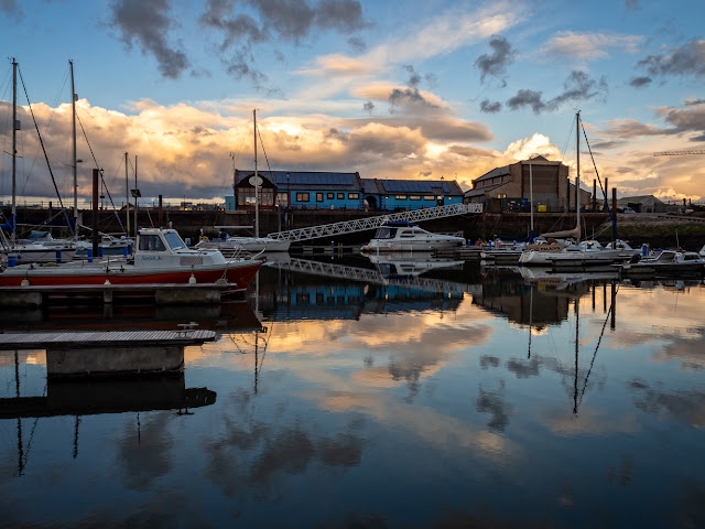 Photo of reflections of clouds just before sunset at Maryport Marina yesterday (Thursday) evening