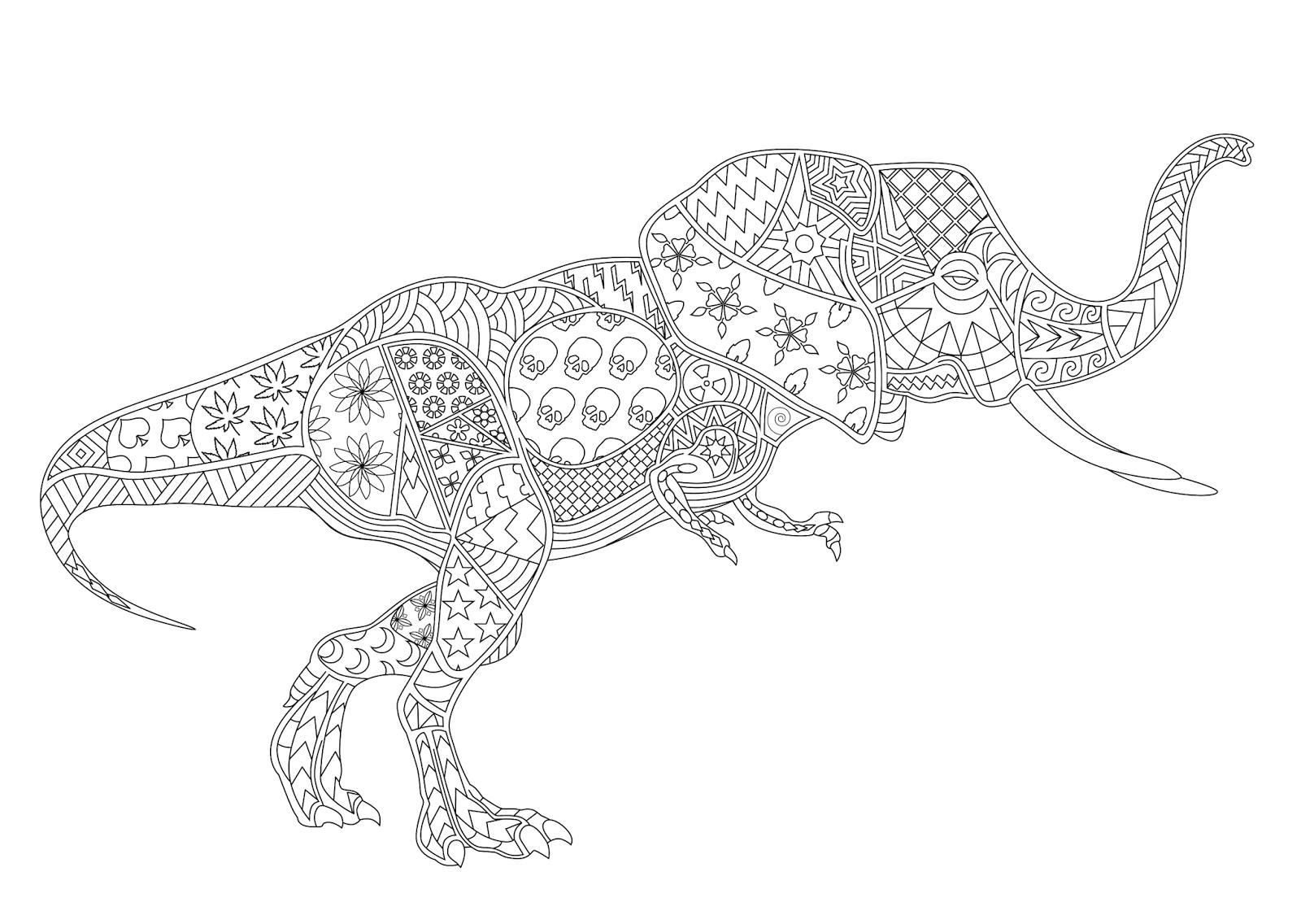 Para Colorir Desenho Adultos T Rex Elefante