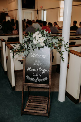 wedding welcome sign at church