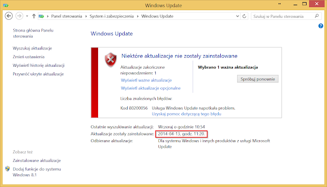 Windows Update błąd nr 80200056