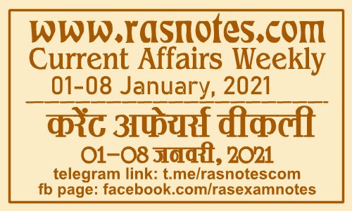 Current Affairs GK Weekly January 2021 (01-08 December) in hindi pdf