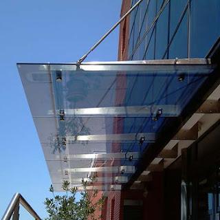 exterior front door tempered glass canopy stainless.jpg 350x350 giàn mái đón inox 304 3D mái vòm thép mạ kẽm, giàn mái không gian inox 304