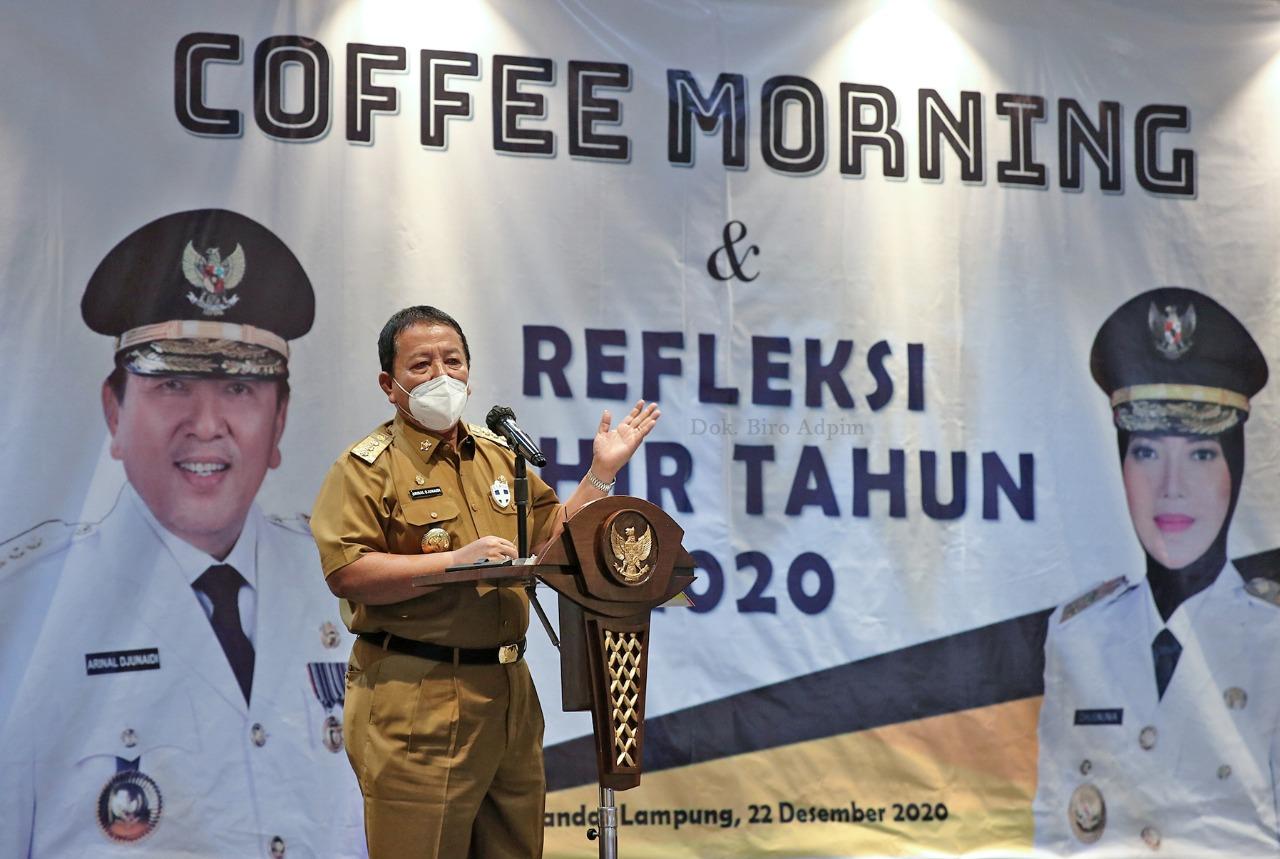Coffee Morning dan Refleksi Akhir Tahun 2020, Gubernur Arinal Sampaikan Prestasi Lampung di Tengah Pandemi Covid-19