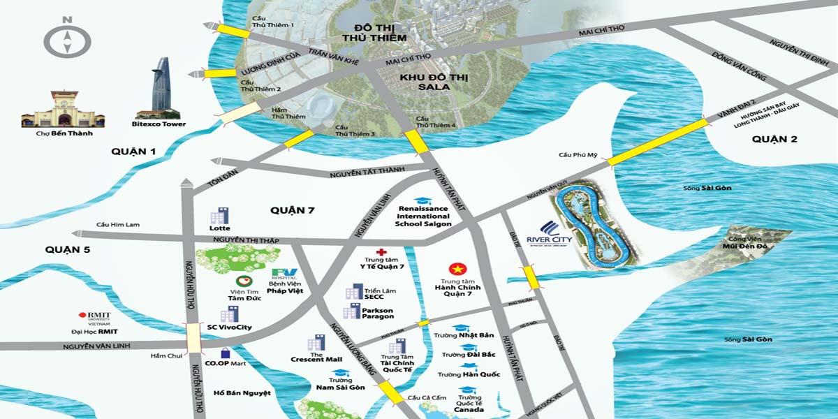 Sơ đồ giao thông vị trí dự án căn hộ River City quận 7 HCM