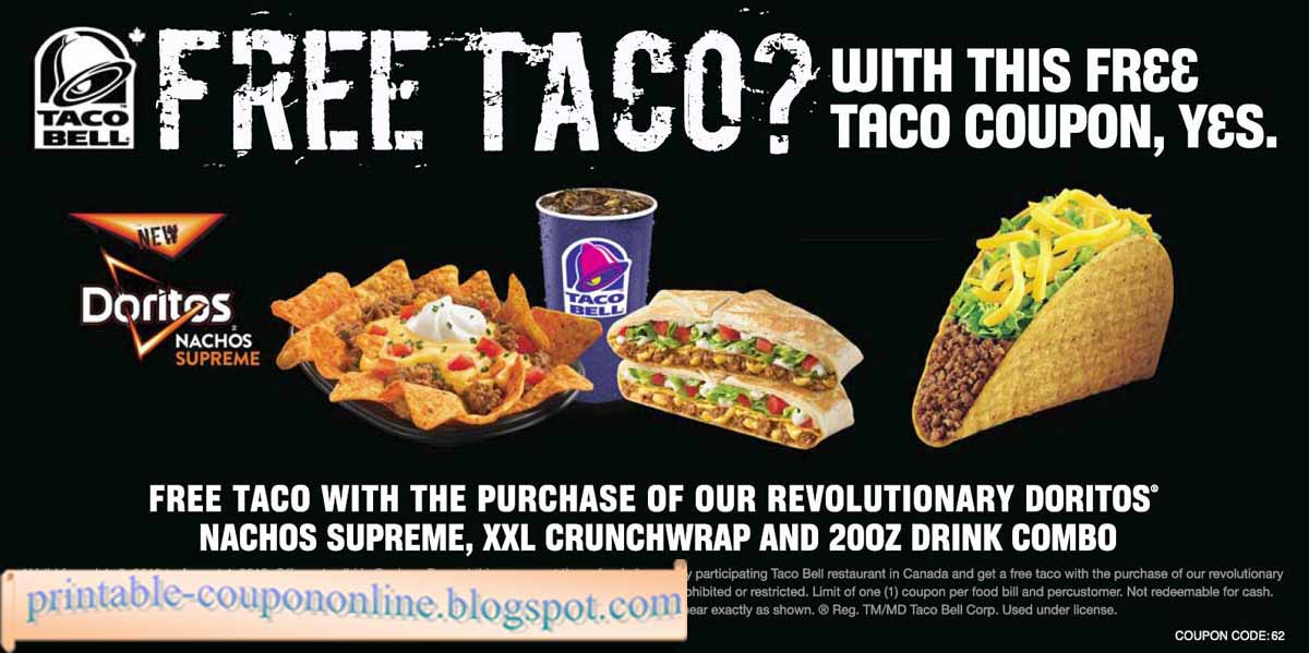 photo regarding Taco Bell Printable Coupons titled Jun 💵 itsco Coupon fitfunrw.de Discount coupons Promo Codes
