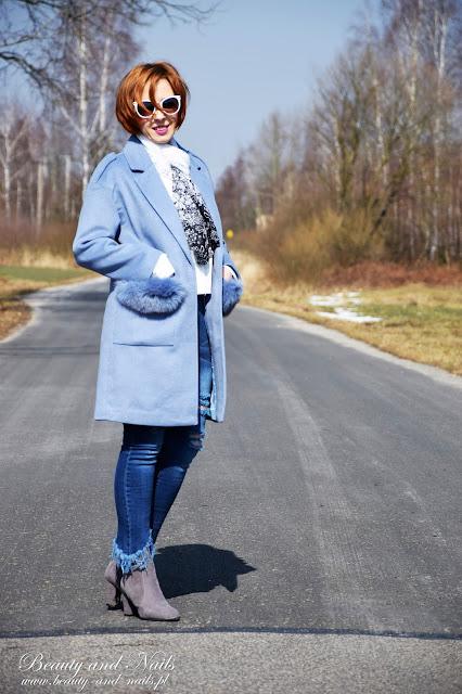 ZAFUL | niebieski płaszczyk i czarny żakiet.