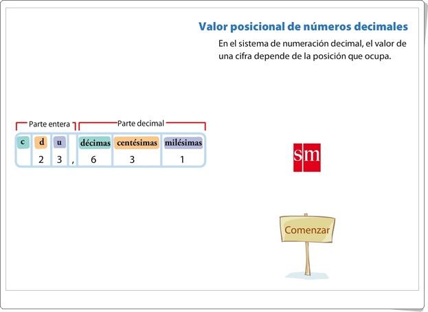 """""""Valor posicional de números decimales"""" (Presentación animada de Matemáticas de Primaria)"""