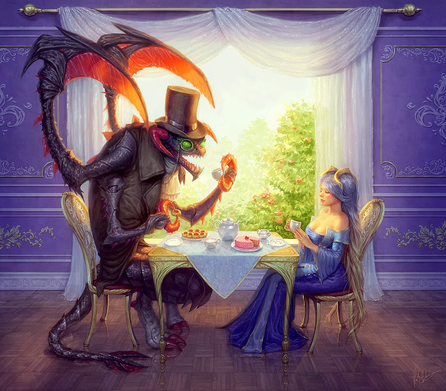 Teatime with Cho'Gath and Sona, fanart sona and cho'gath