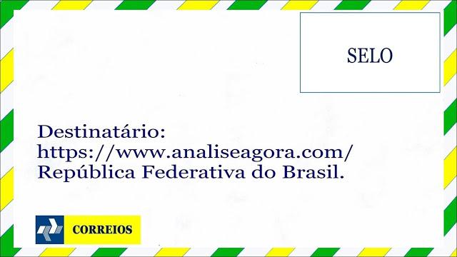 A foto mostra um envelope antigo dos correios do Brasil  nas cores também do Brasil, verde, amarelo e azul.