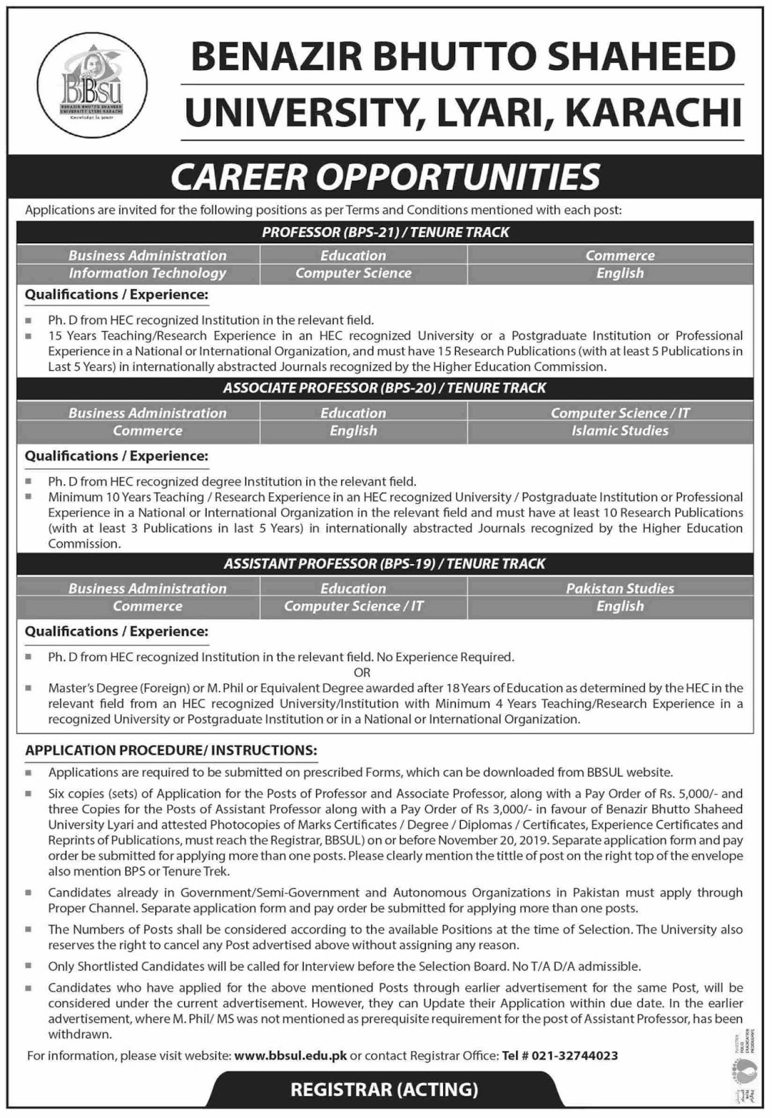 Jobs in Benazir Bhutto Shaheed University Karachi Nov 2019