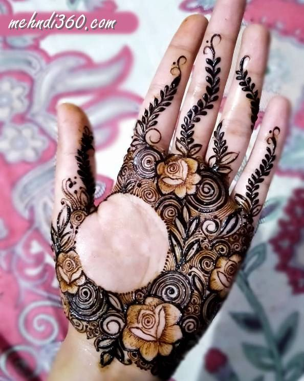 Front Hand Circle Henna Design