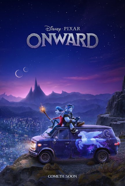 Pixar Onward Poster Van overlooking city