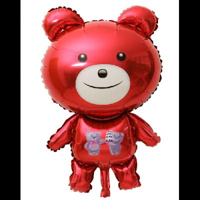 Balon Foil Karakter Teddy Bear Merah