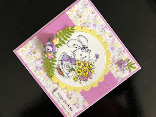 Spring Birthday Card with Cute Stamped Rabbit and Flowers