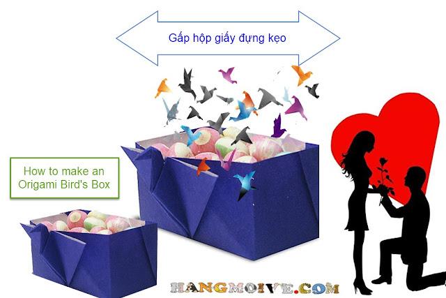 Cách gấp, xếp hộp giấy hình con chim hạc để đựng kẹo - How to make Origami Bird's Box
